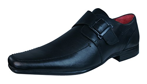 Red Chisel Mens Shoes Leather 2 Buckle Black Mersey Tape Loafers Toe qg6UqSRn
