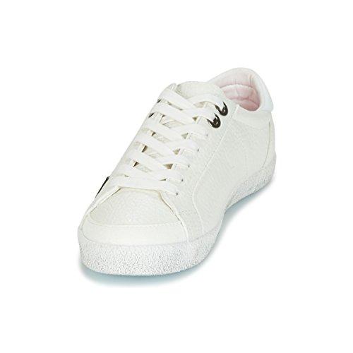 Superdry Super White pewter Sleek Logo Baskets Blanc F48FT