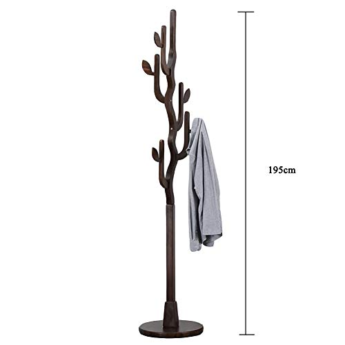 JiaQi Solid Wood Coat Rack,Entryway Standing Hall Tree,Creative Leaves Coat Tree 10 Hooks for Jacket Umbrella Bedroom-E 40x195cm(16x77inch)