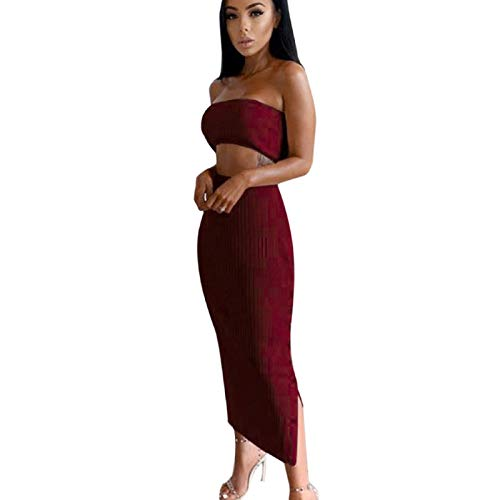SNOWSONG Womens Strapless Off Shoulder Crop Tube Top Bodycon Dress Button Down High Waisted Skirt Wine