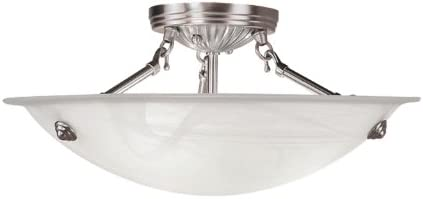 Livex Lighting 4273-91 North Port 3 Light Brushed Nickel Semi Flush Mount with White Alabaster Glass