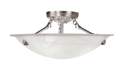 Livex Lighting 4273-91 North Port 3 Light Brushed Nickel Semi Flush Mount with White Alabaster Glass from Livex Lighting