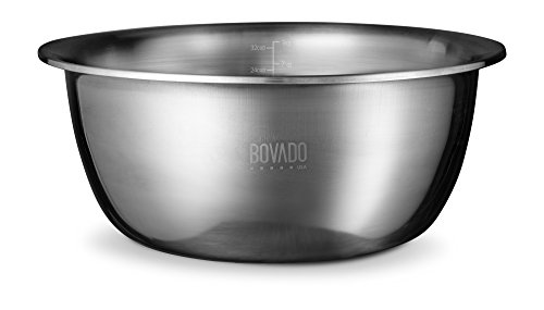 New Design Stainless Steel Mixing Bowl - 9.5qt - Flat Bottom Extra Wide Non Slip Base, Retains Temperature, Dishwasher Safe - By Bovado USA ()