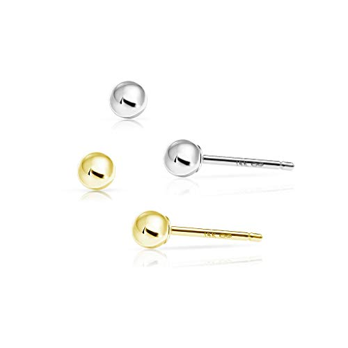 SOLIDGOLD - 14 Karat Ball Stud Earrings 3mm Dazzling Real Yellow and White Gold |2 pair set YW