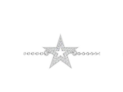 Libertini bracelet argent 925 femme serti de Diamant en forme de Étoile