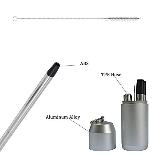 304 Stainless Steel Drinking Straw -The World's First 9 inch Reusable Collapsible Drinking Straw Portable Keychain Non-Toxic Food-Grade CE FDA Authenticated (Red) by T-Trees (Image #3)