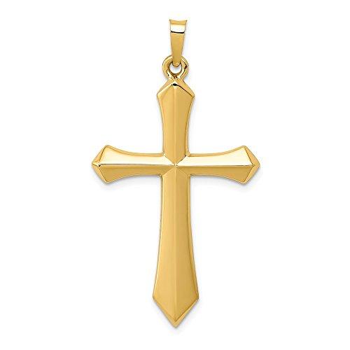 14K Yellow Gold Polished Knife Edge Large Cross Pendant Religious