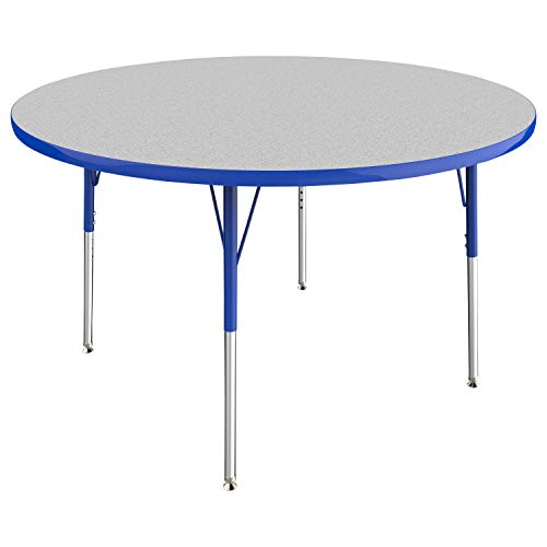 "Round Activity School/Office Table (48""), Standard Legs with Swivel Glides, Adjustable Height 19""-30"" - Gray Top/Blue Edge"