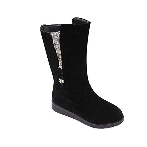Ama (tm) Femmes Fermeture À Glissière Hiver Plat Chaud Bottes De Neige Mocassin Mi-mollet Bottes Chaussures Noir