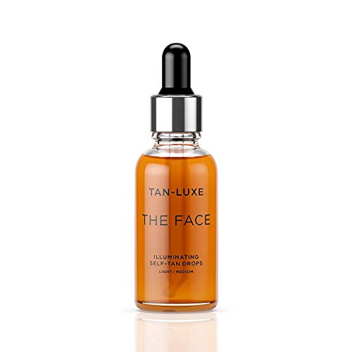 Tan-Luxe The Face self - tanning drops, light/medium 10ml - Effortless, Custom tanning - Skin hydrated + luminous - Evens skin tone - Natural looking - Radiant glow - No smells - United Kingdom