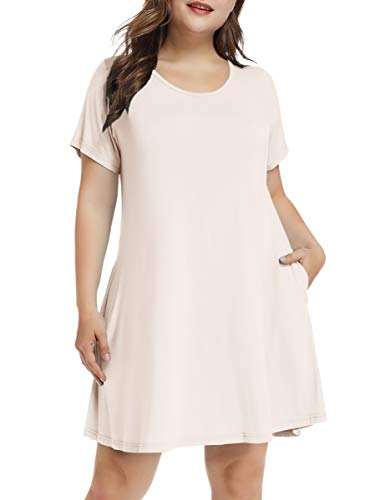 - LARACE Women's Short Sleeve Swing Tunic Casual Pockets Loose T Shirt Dress (X-Large, A-Short Beige)