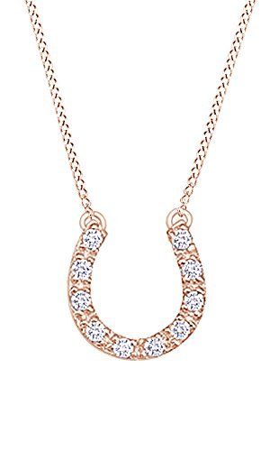 AFFY Round Cut Cubic Zirconia Horseshoe Pendant in14K Rose Gold Over Sterling Silver