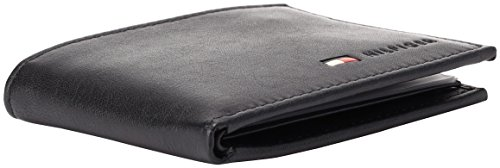 Tommy Hilfiger Men's Leather Passcase Wallet,Black