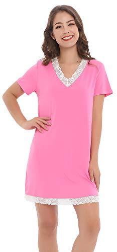 (NEIWAI Women's Nightgowns Bamboo Nightshirts Lace Sleep Dress Raspberry Pink 4X)