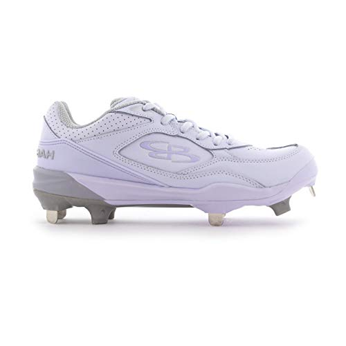 Boombah Women's Endura Metal Cleat White/White - Size 8.5 (Metal Softball Cleats For Girls)