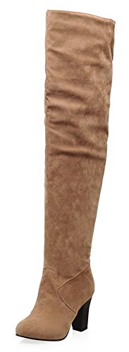 Brown Round Suede Trendy High High High Toe With Aisun Thigh Women's Heel Faux Zipper Boots nvC5Wq6x