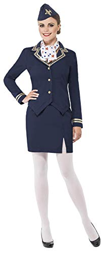 Smiffys Women's Airways Attendant Costume, Jacket, Skirt, Scarf and Hat, Icons and Idols, Serious Fun, Size 6-8, -