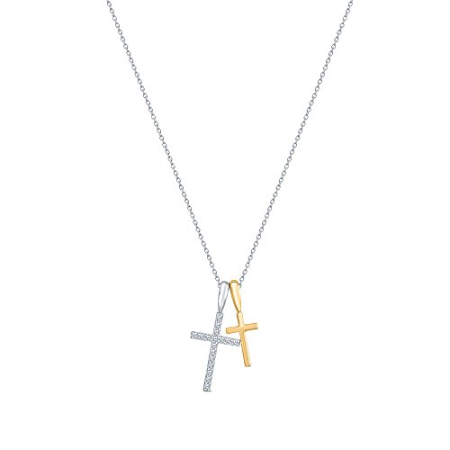 - La Joya 1/10ct Round White Diamond 10K White Yellow Gold Double Cross Pendant Necklace Christmas Xmas