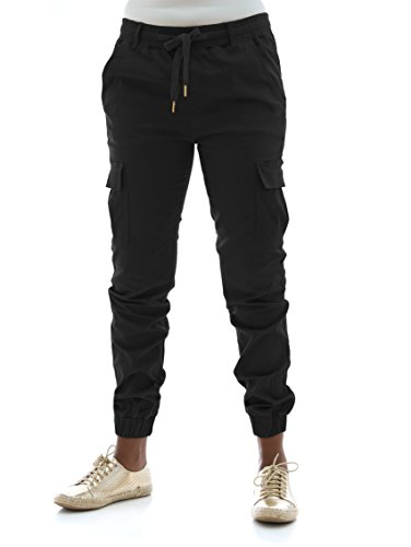 - Riflessi Women's Stretch Twill Cargo Jogger Pants-Black-S