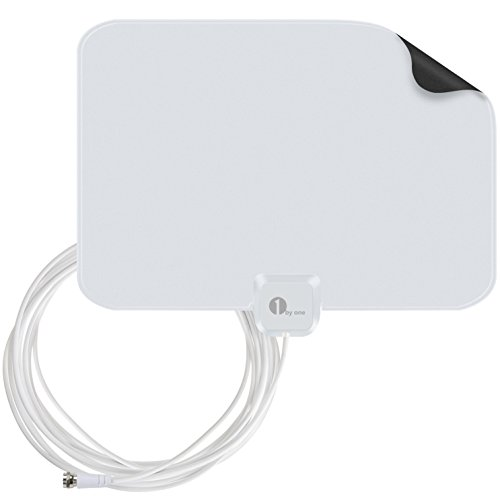 1byone 35 Miles Super Thin HDTV Antenna with 20 Feet High Performance Coaxial Cable - White/Black