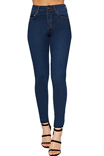 Fonc Maigre Jambe Pantalon Jeans Pantalon tendue WearAll De 42 Toile Nouveau 34 Dames Jean Lav Indigo Femmes qFIwIn5t