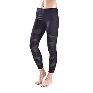 ctshow Women's Long Mesh Workout Sports Tights Gym Yoga Pants leggings
