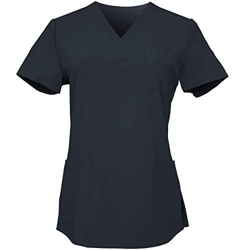 (Joy SenScrubs Women's 4 Way Stretch Scrubs (V-Neck, 4 Pockets, Polyester Spandex) Style Tulip (Black, L))
