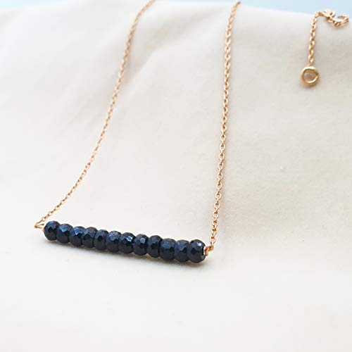 Black Spinel Bar Necklace with 18K Gold plated Sterling Silver Chain Gemstone Layering Necklace