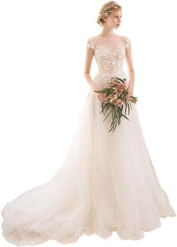 XDDQ Long Beach Brautkleid Brautkleid Brautkleid Braut Frauen DüNne Schultern Schwanz Hinte