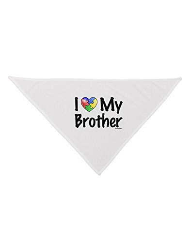 - TooLoud I Heart My Brother - Autism Awareness Printed White Dog Bandana 26