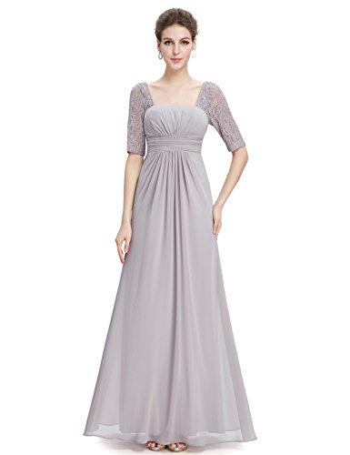 Ever-Pretty Half Sleeve Square Neckline Ruched Waist Evening Dress 08038