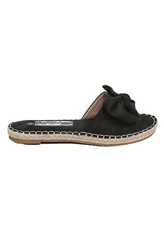 PILOT® arco sandalias planas deslizantes detalle de esparto negro
