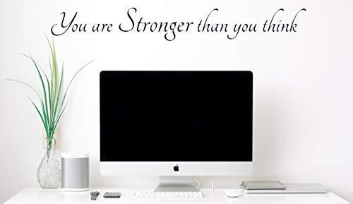 You are Stronger Than You Think – Motivational Wall Decals & Inspirational Art Decor – Vinyl Stickers with Positive Quotes, Sayings, Words and Phrases for Living Room, Kitchen, Bedroom, Gym & Office