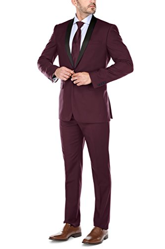 Chama Men's Single Breasted Shawl Collar Tuxedo Slim Fit Suit (40 Regular/34 Waist, Burgundy) Burgundy Tuxedo