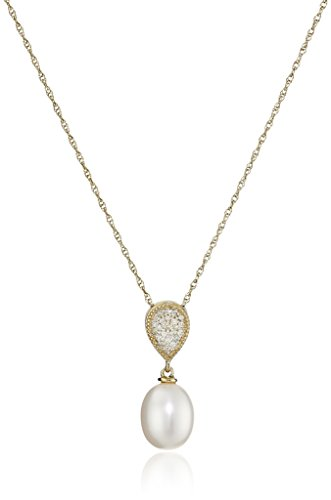10k Yellow Gold 7-8mm White Oval Freshwater Cultured Pearl Diamond Cluster Teardrop Pendant Necklace