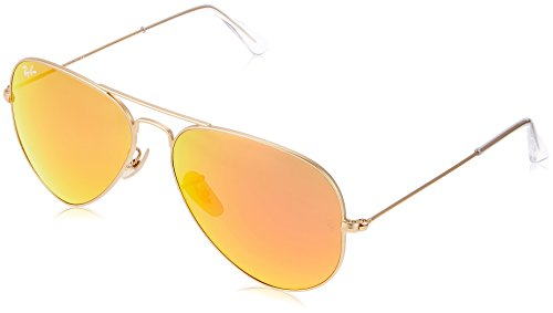 Ray-Ban AVIATOR LARGE METAL - MATTE GOLD Frame CRYSTAL BROWN MIRROR ORANGE Lenses 58mm - Ray Gold And Ban Brown Aviators