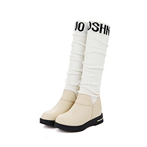 Tacco Inferiore Girls Imitato Di Heighten Fondo Abbinato Balamasa All'interno Colore In Square Heels Stivali Pelle Beige 8BqdwFSv