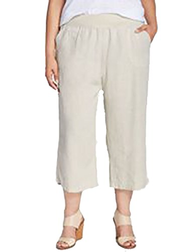 New Allen Allen Linen Flax Pants Capri Beige. Color Flax. Size: Large. - Allen Allen Womens Clothing