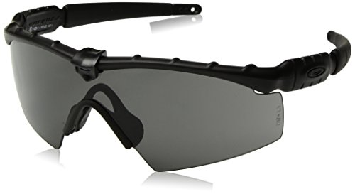 Oakley Men's Ballistic M Frame 2.0 Rectangular Sunglasses, Matte Black w/Grey, 132 - Oakley M