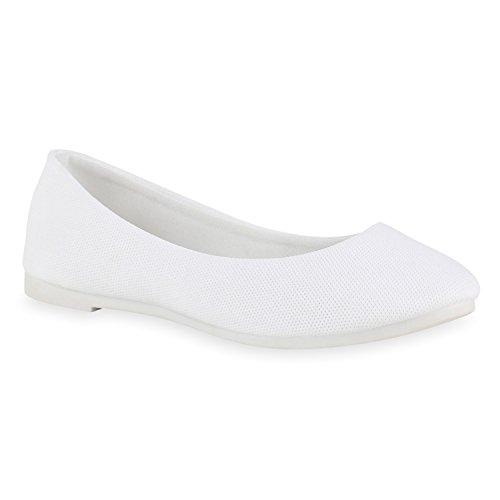 Stiefelparadies Damen Ballerinas Lack Stoff Slippers Schleifen Velours Ballerina Schuhe Slipper Flats Leder-Optik Flache Sommerschuhe Flandell Weiss Full