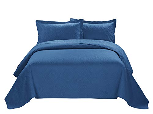 3 Piece ESTANCIA Ultrasonic Embossed Bedspread Set-Oversized Coverlet 100x106in, 118x106in (King, Mazarine)