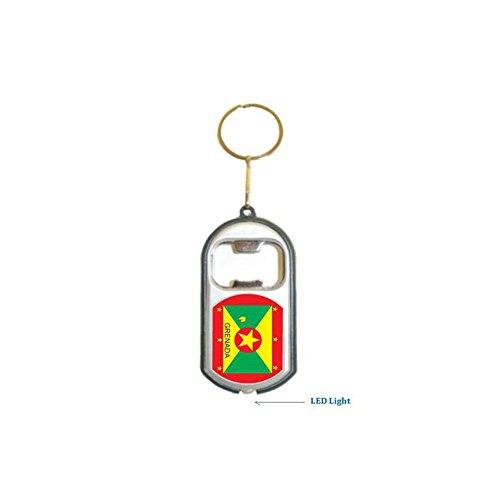 Grenada Flag 3 in 1 Bottle Opener LED Light KeyChain KeyRing Holder - 12 (Grenada One Light)