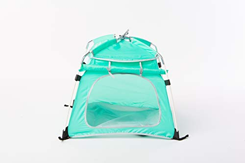 NSR Riding Portable Pet Tent Outdoor/Indoor Authorized Reseller - Pet Dog Camping Accessories - Waterproof, Durable & Super Strong Shelter with Storage (Large, Aqua Green)