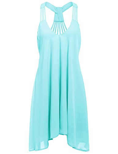 ROMWE Women's Summer Sexy Sleeveless Strappy Swing Dress Blue L