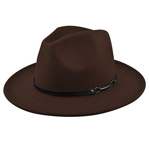 EINSKEY Womens Felt Fedora Hat, Wide Brim Panama Cowboy Hat Floppy Sun Hat for Beach Church Coffee]()