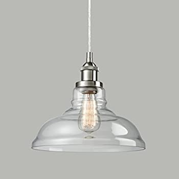 CLAXY Ecopower Industrial Edison Vintage Style 1 Light Brushed Nickel  Pendant Glass Hanging Light