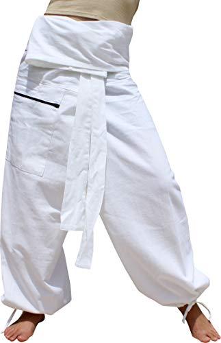 RaanPahMuang Premium Siams Cotton Fisherman Wrap Pants Full Feature Unique Pair, L/XL, Muang Cotton - White ()