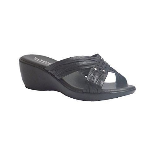 Bartolini Dames Parma Zwart Comfort Verzamelde Bandjes Sandalen Zwart