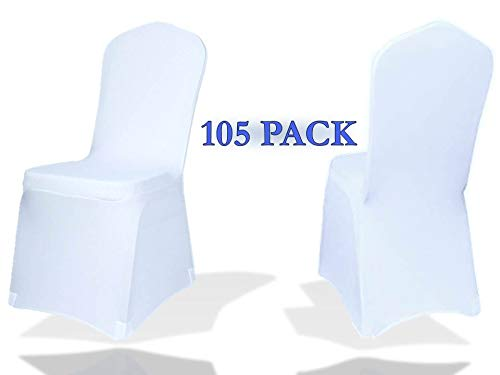 Zebbo Party Chair Covers 105 Pieces Fundas Para Sillas de Tela White Chair Covers Spandex for Wedding Banquet Party Hotel Events