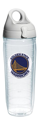 Tervis 1066765 ''NBA Golden St Warriors'' Water Bottle with Grey Lid, Emblem, 24 oz, Clear by Tervis